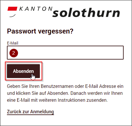 Passwort vergessen – Kanton Solothurn